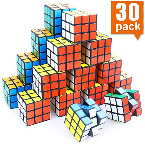 Mini Cube, Puzzle Party Toy, Eco-Friendly Material with Vivid Colors, Party Favor School Supplies Puzzle Game Set for Boy Girl Kid Child, Magic Cube Goody Bag Filler Birthday Gift, Pack of 30