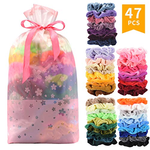 SEVEN STYLE 47 Pcs Premium Velvet Hair Scrunchies Hair Bands Scrunchy Hair Ties Ropes Scrunchie for Women or Girls Hair Accessories (47 Pcs Premium Velvet Hair Scrunchies)