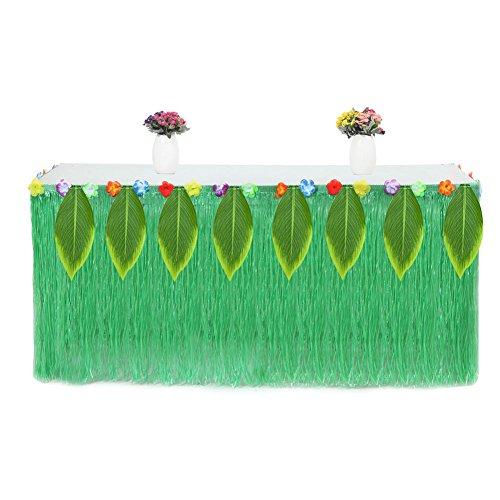 Aoile Hawaiian Luau Hibiscus Picnic Leaves Table Skirt for Party (Taffeta Tutu)
