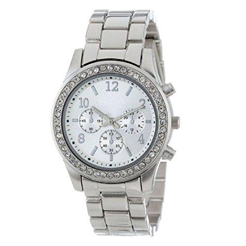 Sankuwen 1pc Silver Elegant Ladies Women's Stainless Steel Crystals Watches Wrist Watch