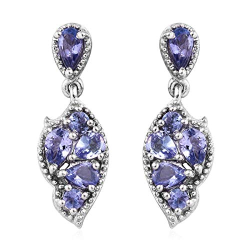 Pear Tanzanite Earrings 925 Sterling Silver Platinum Plated Jewelry for Women Ct 2.6