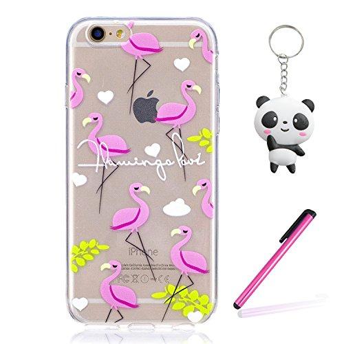 iPhone 7 Coque Oiseau flamme rose Premium Gel TPU Souple Silicone Transparent Clair Bumper Protection Housse Arrière Étui Pour Apple iPhone 7 + Deux cadeau