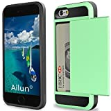 iPhone 6 Case,iPhone 6s Case,by Ailun,Protective Shell-Smooth Card Slider Wallet&Flexible Shockproof Rubber Bumper&Anti-scratch PC Back Cover,Siania Retail Package[Mint Green]