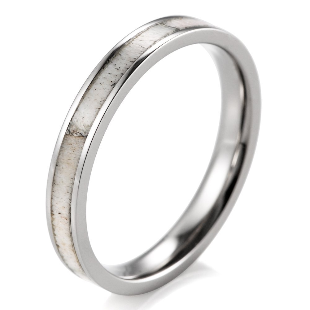 SHARDON Women's 3mm Titanium Ring with Real Deer Antler Inlay Size 10