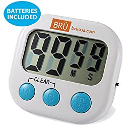 SALE! BRU USA Digital Kitchen Timer, Big Digits, Loud Alarm, Magnetic Backing, Stand, Batteries Included, White