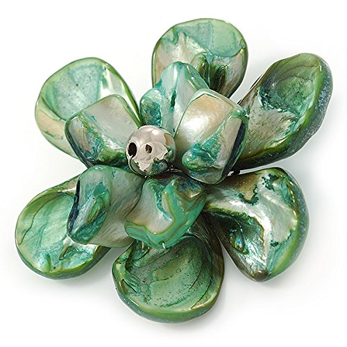 Avalaya Green Shell Flower Brooch - 70mm Diameter qXryPM