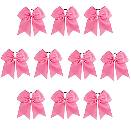 (CN Girls Cheerleader Bow with Ponytail Holder for Cheerleading Girl Pack of 10, Hot Pink, 7)
