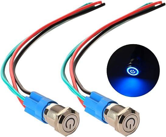 4 Stk Schalter 18mm Edelstahl wasserdicht für Boot LED gelb mit Kabel
