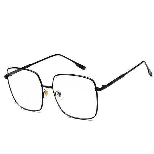 c27fe17d7bc2 D.King Retro Oversize Square Full Metal Frame Eyewear Clear Lens  Non-Prescription Glasses