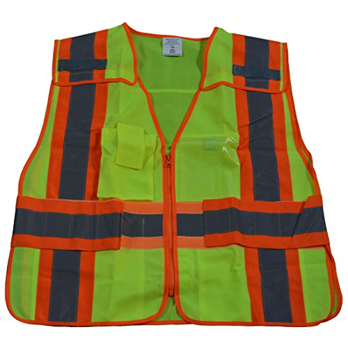 Clear Title Pocket - Petra Roc LV2-PSVP-SUPER ANSI-107 Class 2 Contrast Public Safety Vest, 6X-Large/8X-Large, Lime Solid