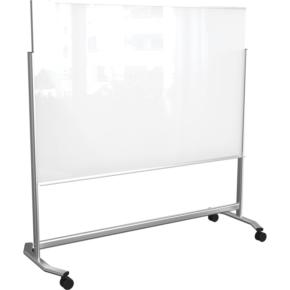 Mooreco 74951 4X6FT VISIONARY MOVE MOBILE MAGNETIC GLASS WHITEBOARD