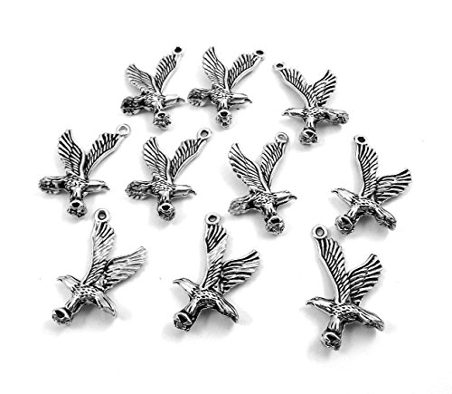Set of Ten (10) Pewter Flying Eagle Charms