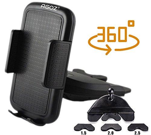 - 360° Rotating AGOZ Car CD Slot Mount Holder Stand For Apple iPhone X, 8 Plus, 8,7, 6,Samsung Galaxy S9 Plus, S9, Note 8/9, S8 Plus, S8, S7,S6, J7, Sky PRO, J7V, Prime, Perx,J3, Motorola Moto G5 Plus