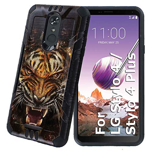 Stylo 4 / Stylo 4 Plus Protector Case [NakedShield] [Black] Rugged Fusion 2 Layers Grip Cover Armor Case [Tiger Force] for LG Stylo 4 / Stylo 4 Plus (Ultra Tiger Force)