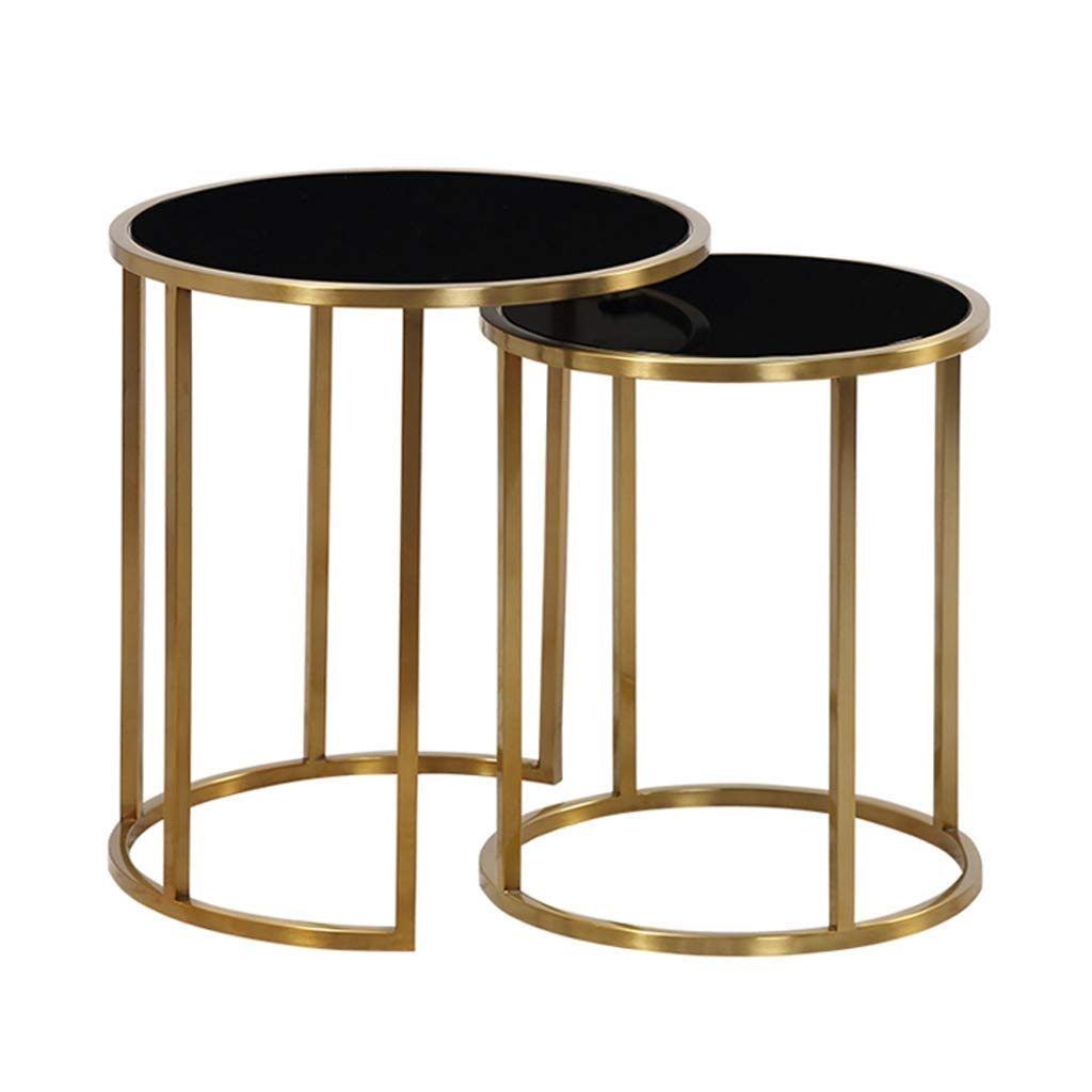 Lcxliga Contemporary Side Tables with for Living Room | End Tables for Small Spaces | Metal Basket & Tempered Glass Top |Set of 2 by Lcxligang