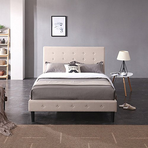 (Classic Brands DeCoro Cambridge Upholstered Platform Bed | Headboard and Metal Frame with Wood Slat Support | Linen,)