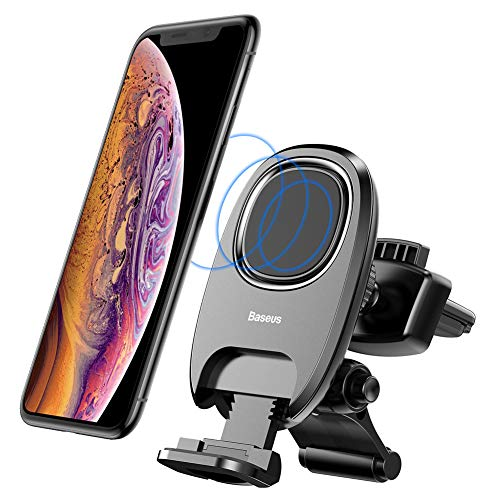 Car Cell Phone Holder Vent, Baseus Cell Phone Holder for Car with Release Button & Support Deck, 360°Rotation Magnetic Car Mount for iPhone X/8/8Plus/7/7Plus/6s/6P/5S, Samsung Galaxy S9, S8, S7, S6, e