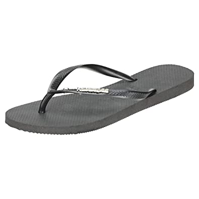 32915ed2358b03 Amazon.com  Havaianas Slim Logo Metallic Crystal Womens Sandals ...