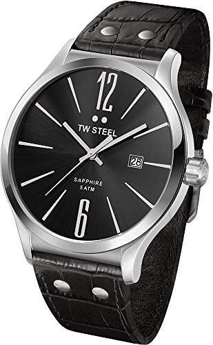 TW Steel Unisex TW1300 Slim Stainless Steel Watch With Black Leather Band