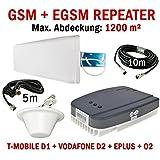 GSM + EGSM Repeater Verstärker Handy Signalverstärker für D-Netz und E-Netz - Telefonie Verstärkung (bis zu 1200 m²) T-Mobile D1 / Vodafone D2 / E-Plus / O2 + leistungsstarke Außenantenne + leistungsstarke Omni Innenantenne + Montagezubehör