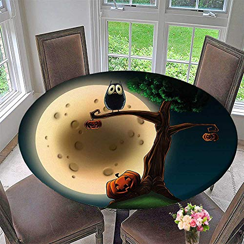 Mikihome Round Table Tablecloth Spooky Halloween Tree with Eyed and Pumpkin for Wedding Restaurant Party 40