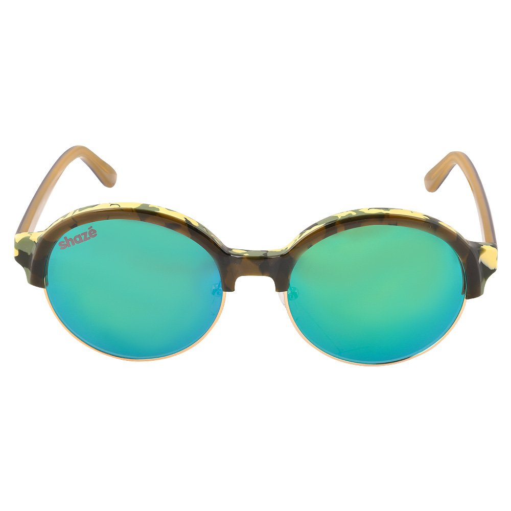 bc9ddd3f095 SHAZE Browline Mirror Green Sunglass