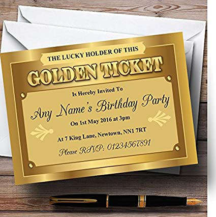 amazon com golden ticket personalized birthday party invitations