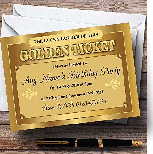 Golden Ticket Personalized Birthday Party Invitations -