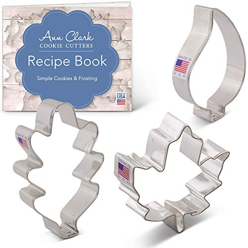 Fall Leaves Cookie Cutter Set with Recipe Book - 3 piece - Maple, Oak and Teardrop Leaf - Ann Clark - US -