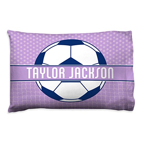 Personalized Soccer Pillowcase | 2 Tier Pattern with Soccer Ball | Soccer Pillows by ChalkTalk SPORTS | Lavender by ChalkTalkSPORTS