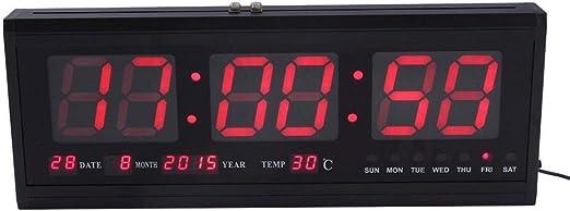 Reloj LED Digital, función de Memoria LED Reloj de Pared Digital Temperatura de la Fecha 24 o 12 Horas para Uso Comercial, Oficina, Industrial: Amazon.es: Hogar