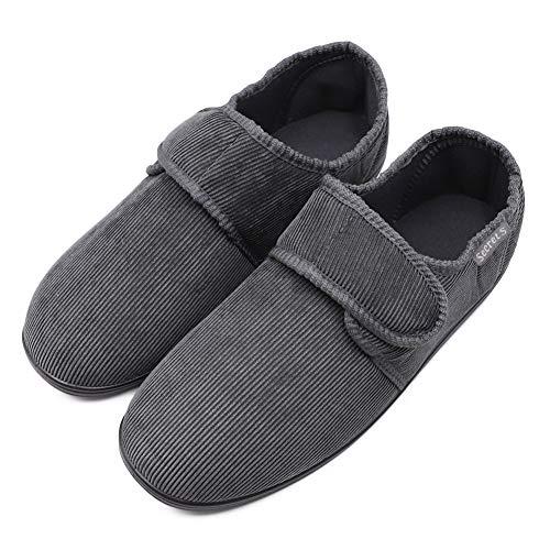 (Mwfus Men's Wide Width Corduroy Slippers with Memory Foam Insole for Diabetic Arthritis Edema Swollen Feet Adjustable Cozy Anti-Skid House Shoes Indoor/Outdoor Grey)