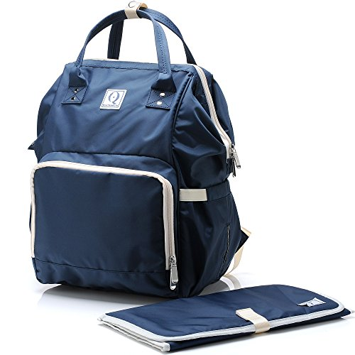 Large Changing Bag - Quatre & Co Diaper Bag Backpack - Multifunction Waterproof Nappy Bags for Baby, Mom or Dad - Large Capacity, Durable Travel Organizer with Changing Pad and Stroller straps, Navy Blue