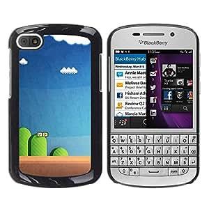 rígido protector delgado Shell Prima Delgada Casa Carcasa Funda Case Bandera Cover Armor para BlackBerry Q10 /Blue Pc Retro Blue/ STRONG