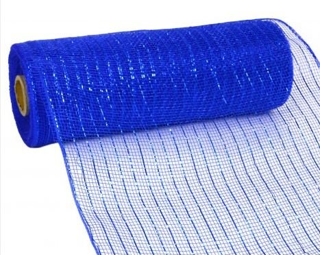 (10 inch x 30 feet Deco Poly Mesh Ribbon - Royal Blue with Blue Foil)