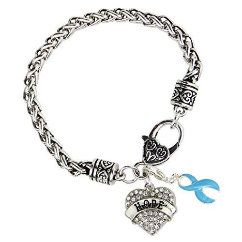 Bleu clair ruban de sensibilisation Espoir Bracelet cœur de cristal Charm