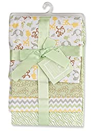 Regent Baby 4 Piece Crib Mates Receiving Blankets, Green