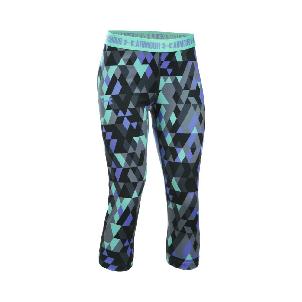 Under Armour Girl's HeatGear Armour Printed Capris, Stealth Gray (011)/Violet Storm, Youth X-Small