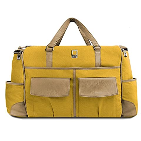 Lencca Yellow and Tan Alpaque Duffel Water-Resistant Luggage Laptop Bag for MSI Prestige / GT (Msi Gt70 Gtx980)