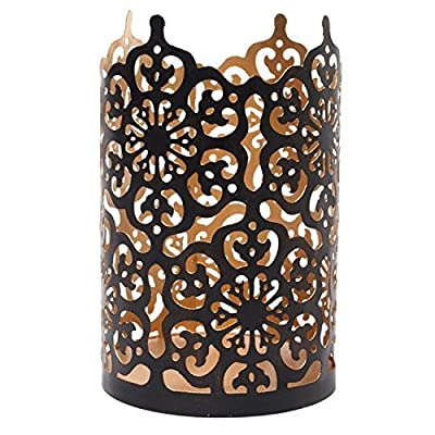 """Hosley Flower 7"""" High Cut Bronze LED Tealight Holder Lantern"""