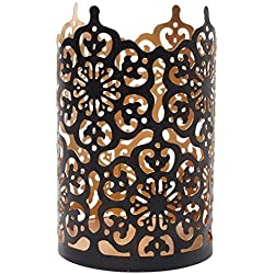 "Hosley Flower 7"" High Cut Bronze LED/Votive / Tealight Holder/Lantern. Ideal Gift for Wedding, Party, Use with Jar Candles, Tea Lights, Votive Candle Gardens, Aromatherapy, Spa P9"