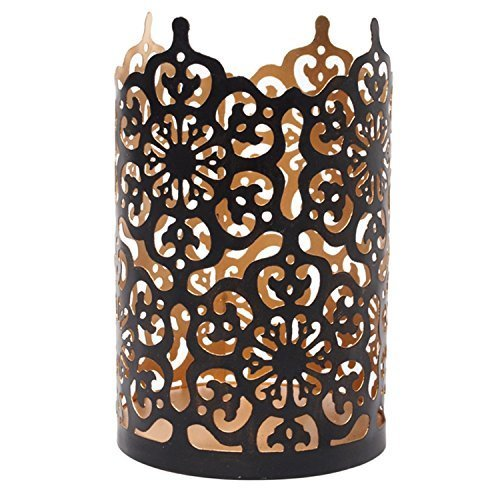 (Hosley Flower 7 Inch High Cut Bronze LED/Votive/Tealight Holder/Lantern. Ideal Gift for Wedding, Party, Use with Jar Candles, Tea Lights, Votive Candle Gardens, Aromatherapy, Spa O4)