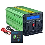 EDECOA Power Inverter 2000W DC 12V to 240V AC Car Vehicle with LCD Display and Remote - Green