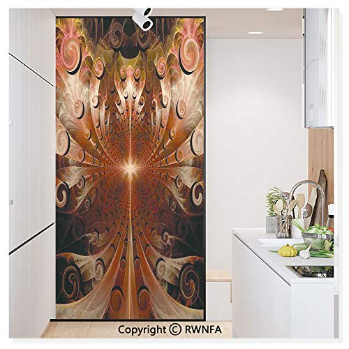 Window Glass Sticker Door Mural Gothic Medieval Heraldic Ornamental Background Middle Age Knight Aged Artwork Print Static Cling Privacy No Glue Film Home Decorative 11.8x59.8inch,Copper