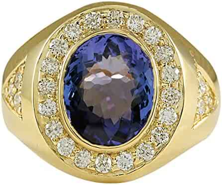 4.95 Carat Natural Blue Tanzanite and Diamond (F-G Color, VS1-VS2 Clarity) 14K Yellow Gold Luxury Statement Ring for Men Exclusively Handcrafted in USA
