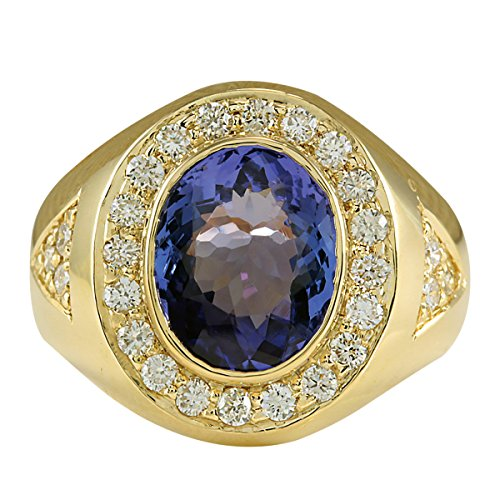 - 4.95 Carat Natural Blue Tanzanite and Diamond (F-G Color, VS1-VS2 Clarity) 14K Yellow Gold Luxury Statement Ring for Men Exclusively Handcrafted in USA