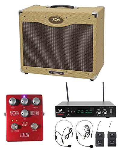 Peavey Classic 30 112 30w Tube Guitar Amplifier+Stomp Box Effect+Wireless Mics