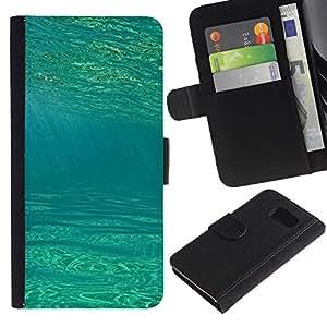 LASTONE PHONE CASE / Lujo Billetera de Cuero Caso del tirón Titular de la tarjeta Flip Carcasa Funda para Samsung Galaxy S6 SM-G920 / Blue Green Dive Surf Summer