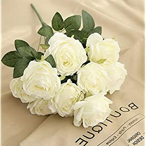 Mikash Artificial Roses Flowers 10 Heads Arrangement Silk Bouquet Glorious Moral for Home Office Parties and Wedding Tion (White) | | Model WDDNG - 2119 42