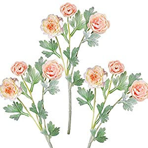 "Supla 3 Pack Silk Ranunculus Artificial Flowers Ranunculus Flower Spray in Peach Pink 17.6"" Tall Blooming Silk Buttercup Stems for DIY Wedding Bridal Bouquets Floral Arrangement Centerpiece 36"